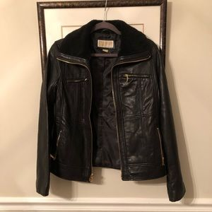 Michael Kors leather bomber jacket, real leather